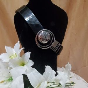 Chicos Black Patent Leather Silver Buckle Size S/M